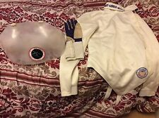 womens fencing gear equipment: jacket, glove, chest plate