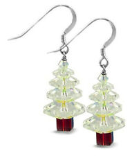 STERLING SILVER 925 & SWAROVSKI CRYSTAL XMAS TREE EARRING KIT, CRYSTAL AB