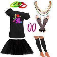 Ladies Off Shoulder I Love 90s  T Shirt Tutu Skirt Set Party Accessories 6292