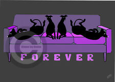 More details for greyhound whippet on forever sofa art print a4 a3 purple sofa, mothers day gift