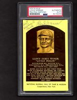 Lloyd Waner Signed/Autographed HOF Plaque Pittsburgh Pirates PSA/DNA