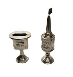 Vintage Judaica Silver Plated Besamim & Havdalah Set