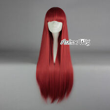 Lolita Red Long 80CM Straight Fashion Party Cosplay Wig with Bangs + Wig Cap