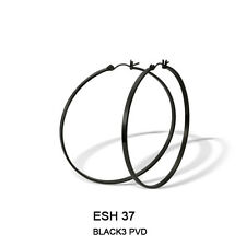 Hoop Round Earrings 55mm Stainless Steel with Black PVD
