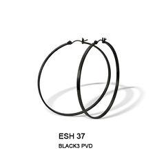 Hoop Round Earrings 55mm Stainless Steel with Black PVD