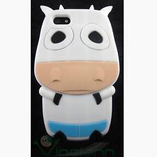 Pellicola+Custodia silicone MUCCA p iPhone 5 5S SE cover BIANCA animali fattoria