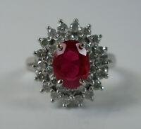 Ring mit Rubin und Brillanten diamonds in 14 K. 585 Weißgold Gr. 55