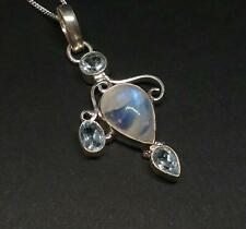 925 Silver Ethnic Indian Moonstone & cut Blue Topaz Pendant Necklace Jewellery
