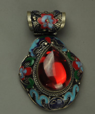 Chinese Handwork Old Tibet Silver Inlay red Jade Cloisonne Flower Pendant