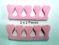 2 x 2 pcs Finger Separator Aid Pink Nail Polish Nail Art Toes Fingers  Clearance