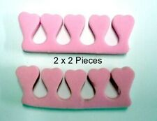 2 x 2 pcs Finger Separator Aid Pink Nail Polish Nail Art Toes Fingers Support