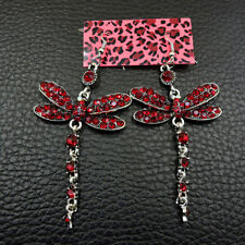 New Cute Red Color Enamel Dragonfly Crystal Betsey Johnson Stand Earrings Gift