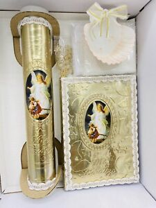 5pcs Baptism Candle Set Girl Boy Gold Set de Bautizo Espanol Nina Nino