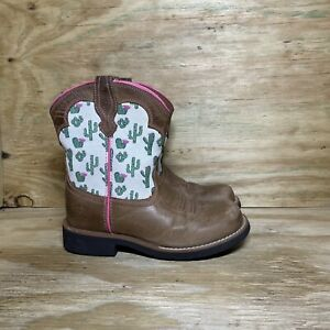Ariat Girls Fatbaby Bell Western Boots Youth Kids Size 2 Brown Cactus 10027309