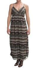 NEW She's Cool Chiffon Brown Chevron Zig Zag Stripe Empire Maxi Dress S Small