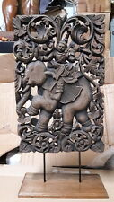 Thai Buddha temple Mythological Bodhisattva Ride Elephant Wood Carved