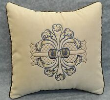"""Embroidered Pillow made w Cream Faux Suede Fabric trim Brown cording 16"""" NEW"""