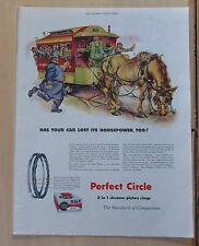 1955 magazine ad for Perfect Circle  Piston Rings - horse drawn trolley car