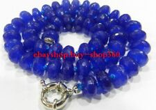 Beautiful 5x8mm Faceted Blue Sapphire Gemstone Roundelle Beads Necklace 18""