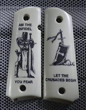 """#210 1911/Clones For Kimber/Colt Frames w/ Hand Scrimshawed """"The Crusader"""""""