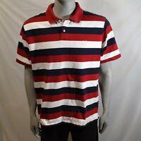 Chaps Mens Polo Shirt Red White Blue Striped Size XXL Short Sleeve Cotton Shirt