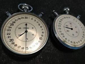 Set of 2  Chronograph SLAVA Soviet Stopwatch Sport Mechanical 20 j USSR