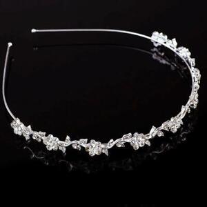 Diamante Leaves Headband Hair Band Clasp Bridal Flower Girl Wedding Tiara Crown