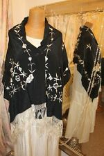 Black floral embroidered tassled shawl -  Ditsy Vintage Vamp Art Deco Style
