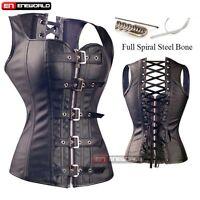 Sexy Women Steel Boned Faux Leather Black Overbust Corset Top Bustier Shapewear