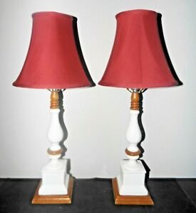"""LAMPS A PAIR OF VINTAGE 24""""H 3-WAY FANCY CERAMIC ON WOOD SHADED NIGHTSTAND LAMPS"""