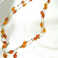 """Gold Chain Crystal & Gemstone Beaded Necklace  30"""" inch"""