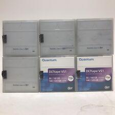 "Lot of 6 - Quantum DLTtape VS1 80/160GB 160/320gb 0.5"" Cartridge, MR-V1MQN-01"
