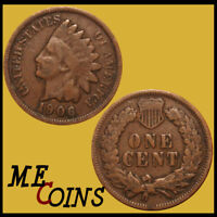 1906 Indian Head Cent Penny , Circulated Good-Very Good , US Coin