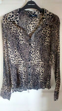 Ladies Blouses Size 12 Polyester Beige and Black animal print F&F