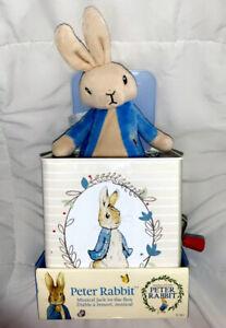 Peter Rabbit Jack In The Box Beatrix Potter Music Metal w/Pop-Up Plush Bunny NIB