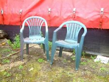 Two Dissimilar Green non Stacking Plastic Garden Chairs