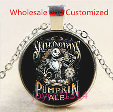 Nightmare Before Christmas Cabochon silver Glass Chain Pendant Necklace #4580