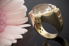 Schmuck Jette Joop Ring mit großem Quarz und Pink Turmalin in Gelbgold 750 Gr 54