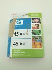New Genuine HP 45 Black Ink Cartridge - Twin Pack - Exp 2008