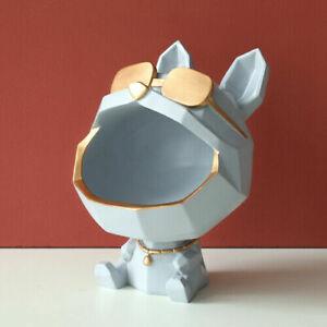 Resin Cool dog Figurine big mouth dog storage box home decoration ornamental art