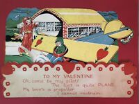 Vintage Fold-Out Large Valentine | Airplane, Pilot and Terminal - USA