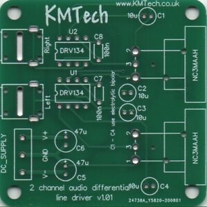 2-channel DRV134 based Low Distortion Differential Line Driver PCB ONLY DIY