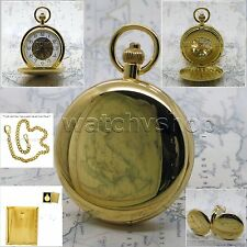 Mechanical Pocket Watch Men 50 mm Gold Polish Brass Skeleton with Chain Box P37