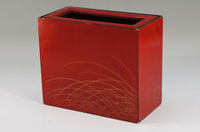 Japan Vintage KABUKI Back Stage Trash Box Red Lacquered Wood Free Ship 697k15