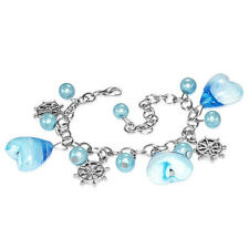 Light Blue Pearl Glass Heart Bead Ships Wheel Charm Bracelet girls UK jewellery