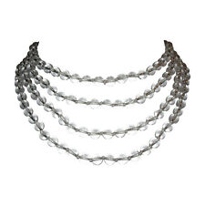 Rock Crystal Quartz Beaded Flapper Rope Necklace Alberto Juan