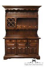ETHAN ALLEN Antiqued Pine Old Tavern 60″ Buffet & Hutch 12-6029 12-6026