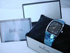 BULOVA MENS DIAMOND ACCENT DRESS WATCH 96G46 Tonneau case Black dial