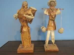 2 Vintage Glazed Paper Mache Figurines-Folk Art Wonderful Detail Mexico