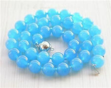 "10mm Rare Blue South America Topaz Round Beads Necklace 18"" AAA Grade AAAA"